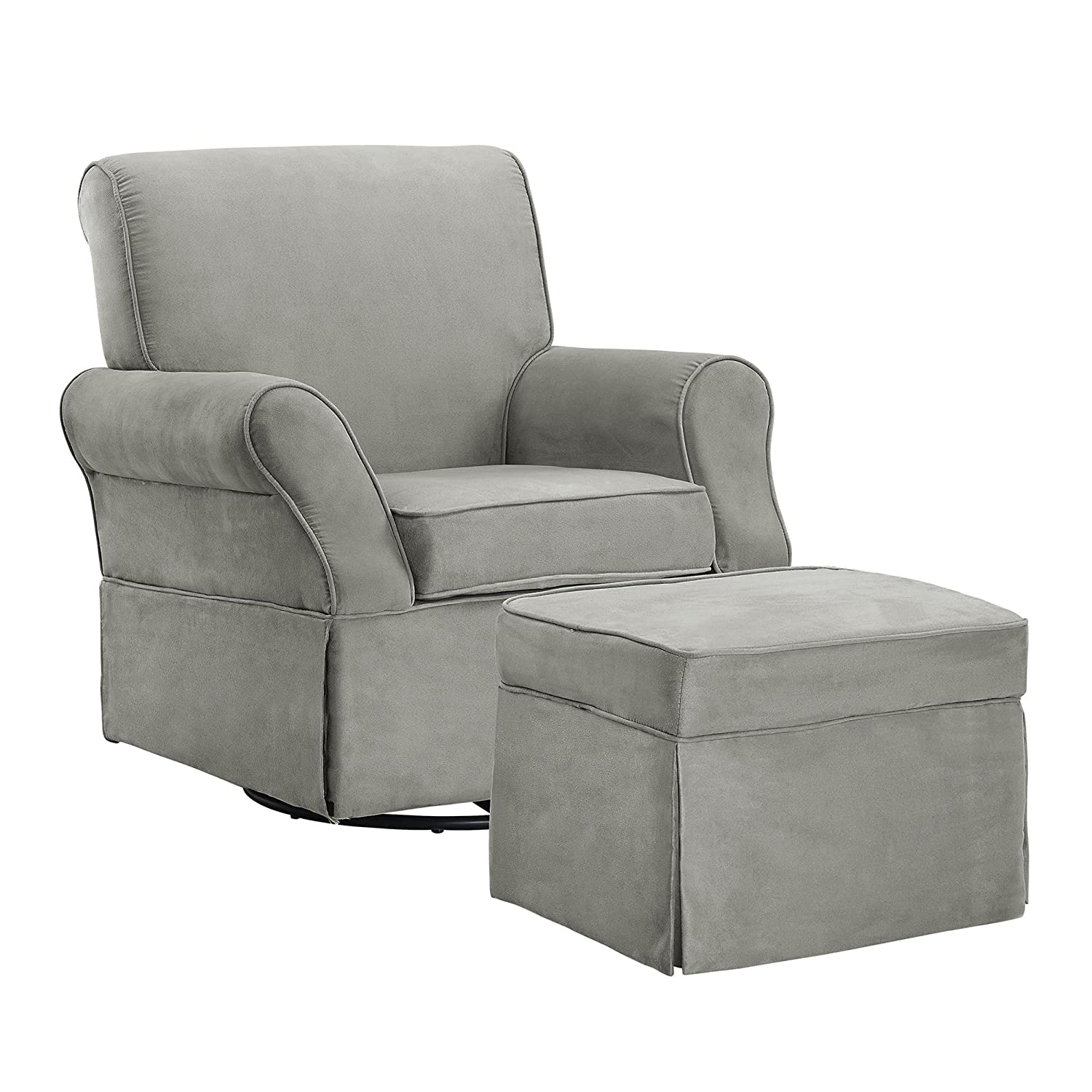 Baby Relax The Kelcie Nursery Swivel Glider Chair and Ottoman Set, Grey Gray