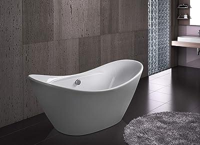 "AKDY 67"" Bathroom Smooth Glossy Acrylic White Color Freestanding Bathtub w/Overflow"