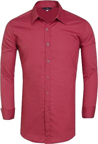 PaulJones - Camisa para hombre, ajustada, fácil de planchar ...