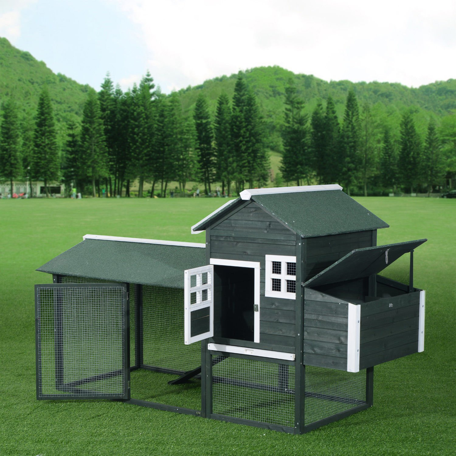 Pawhut Wooden Backyard Poultry Hen House Chicken Coop - Green by PawHut (Image #5)