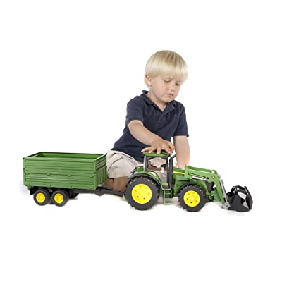 Bruder John Deere 7930 with Frontloader and Tandemaxle Tipping Trailer: Toys & Games