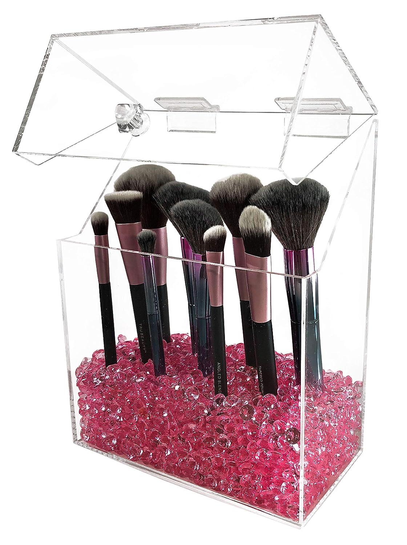 2ffcc9ad8 a Prueba de Polvo Soporte para brochas de Maquillaje con Tapa tamaño Grande  con Cuentas de Diamante Liamin