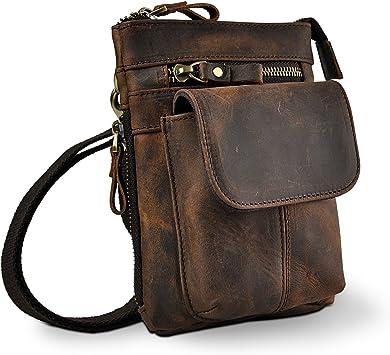 Men Genuine Leather Fanny Small Messenger Shoulder Bum Leg Satchel Waist Pack