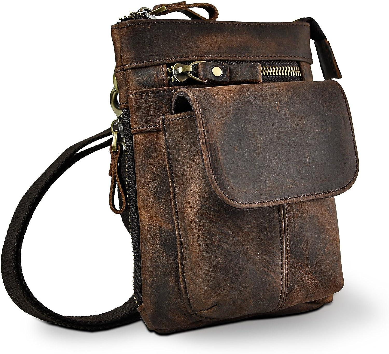 Le'aokuu Mens Genuine Leather Coffee Fanny Small Messenger Shoulder Satchel Waist Bag Pack (V611-18 Dark Brown)