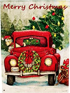 Zotemo Burlap Merry Christmas Garden Flag with Red Truck and Christmas Tree Décor Rustic Flag for Winter Yard Decorations, Double Sided, 12 Inch x 18 Inch