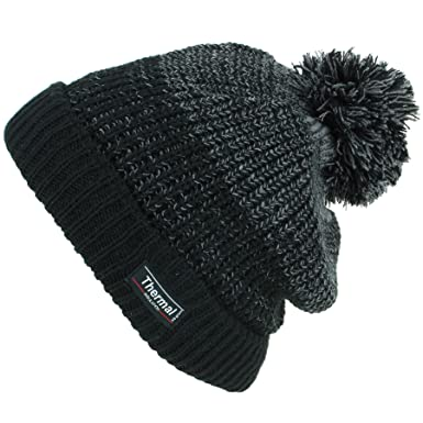 91c5ff5d76a5b Thinsulate Chunky Knit Marl Bobble Beanie Hat with Turn-up - Black   Amazon.co.uk  Clothing