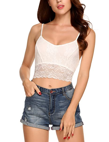 a91aa01da511d Mofavor Women s Lace Bralette Cage Bandeau Tube Bra Tanks Crop Tops White M