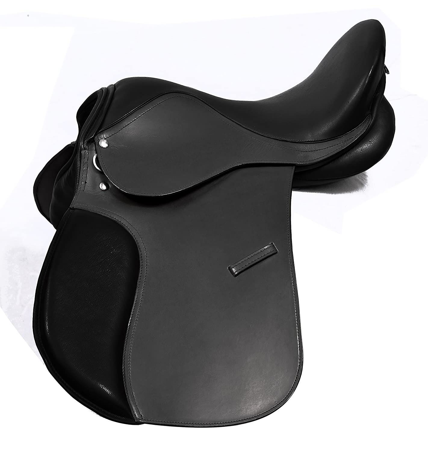 LEATHER GENERAL PURPOSE HORSE SADDLE COMFY SEAT, BLACK & BROWN COLOR SIZE 18 WIDE FIT TACK EQUESTRIAN PETS2CARE