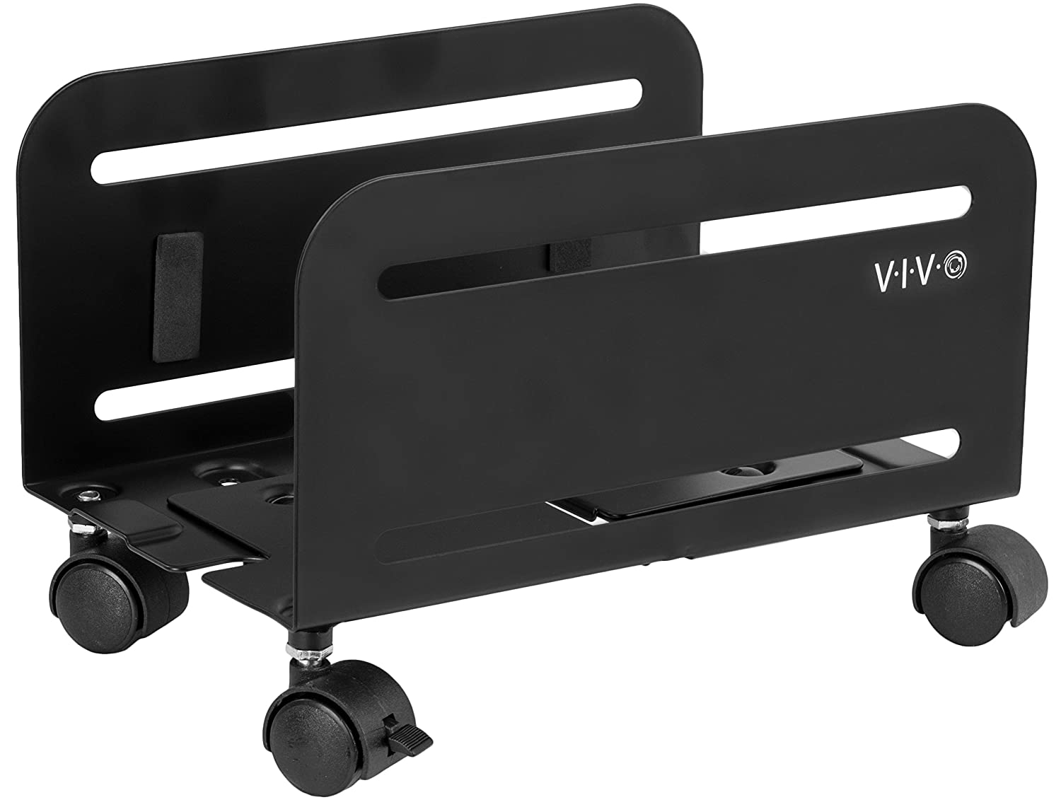 VIVO Black Computer Desktop ATX Case CPU Steel Rolling Stand Adjustable Mobile Cart Holder Locking Wheels (CART-PC01)