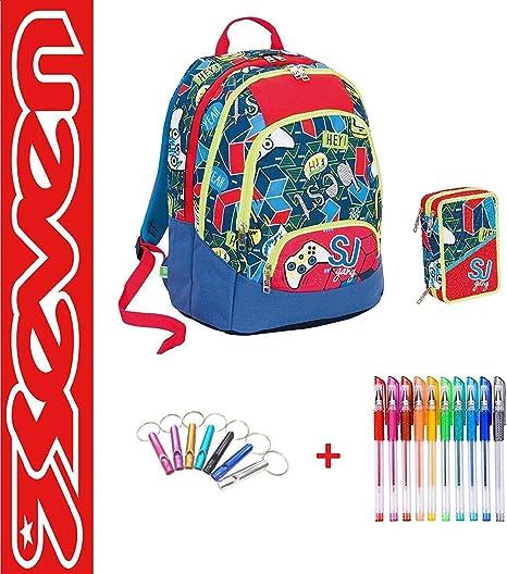 SEVEN. Mochila SJ Maxi Gang Boy niño Best Play Juego + Estuche Maxi 3 Cremalleras Completo + Paquete de 10 bolígrafos de Colores + Llavero Silbato: Amazon.es: Deportes y aire libre