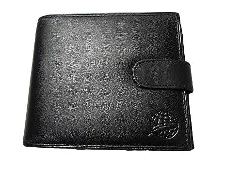 Billetera de Hombre de Cuero - Cartera con Sección Para Billetes con Cremallera - Monedero Separado