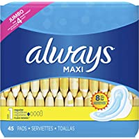 Always Feminine Pads for Women, Size 1, Regular Absorbency, with Wings, Unscented, 45 Count