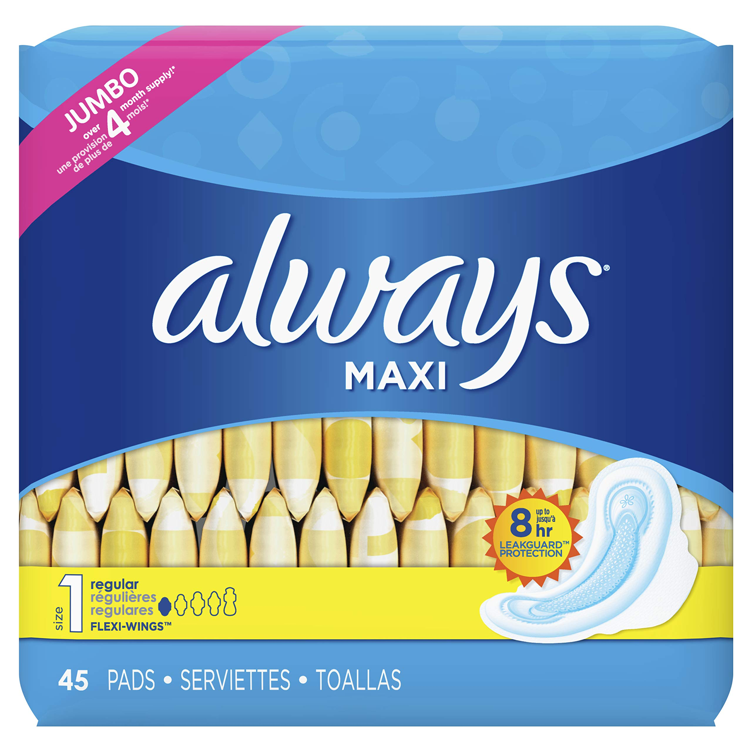 Always Feminine Pads for Women, Size 1, Regular Absorbency, with Wings, Unscented, 45 Count by Always