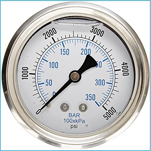 """Liquid Filled Pressure Gauge, 2.5"""" DIAL Display, Stainless Steel CASE, Brass INTERNALS, 1/4"""" Male NPT Back Mount Connection, Dual Scale PSI & BAR (0-5,000 PSI)"""