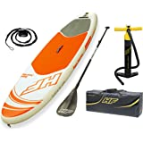 Bestway Hydro, Force Aqua Journey Inflatable Sup Stand up Paddle Board Set, Orange, 9 ft