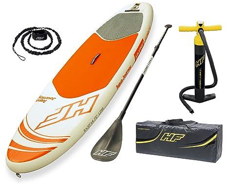 Bestway 65302 - Tabla Paddle Surf Hinchable Hydro-Force Aqua Journey Bestway (274x76x12 cm) con remo de aluminio, inflador, y bolsa de transporte