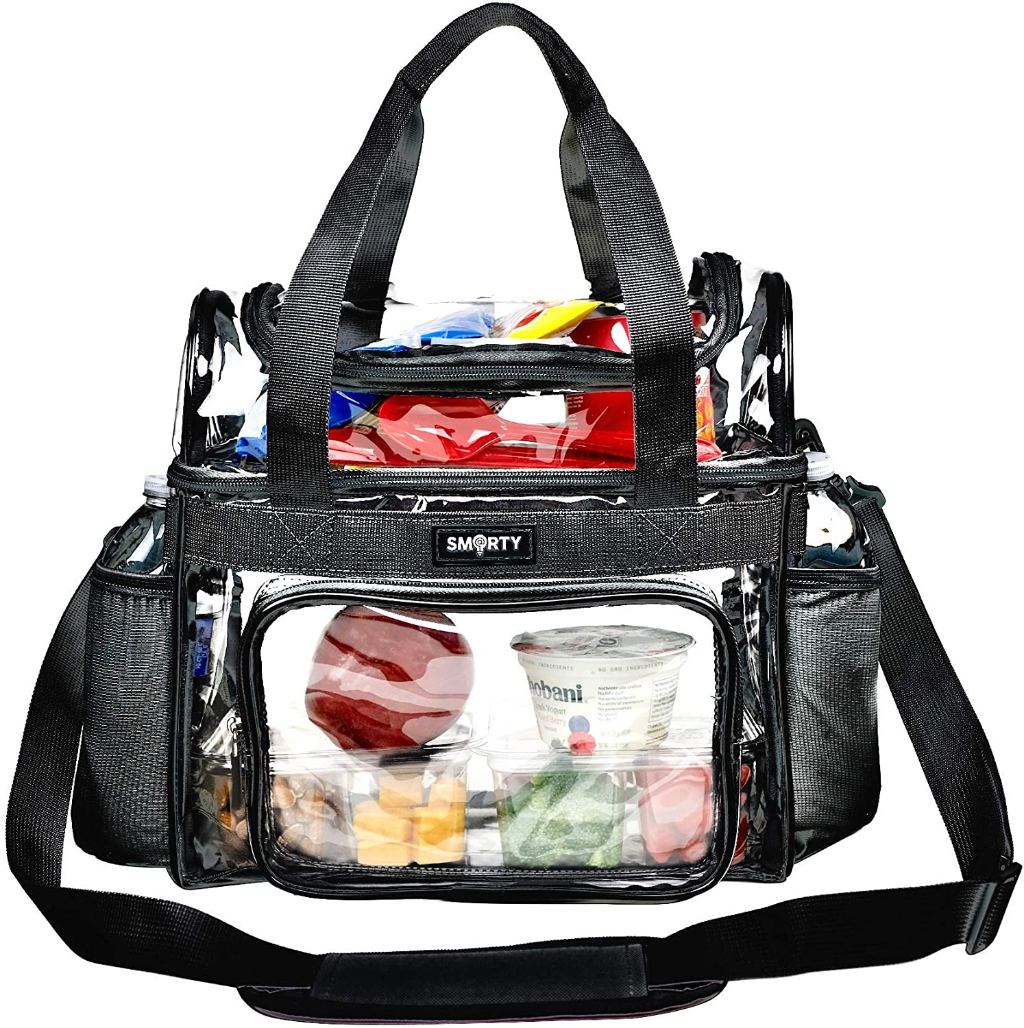 Heavy Duty Clear Lunch Tote Stadium Bag Arena Approved Crossbody Diaper Travel Makeup Cosmetic Bag for NFL Football NCAA Basketball PGA NASCAR Concerts Correctional Officers (Black, 12 x 6 x 12)