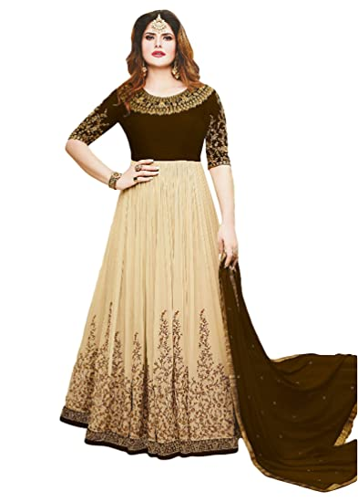 f5e046134130 cloudbox Women s Gown Style Ethnic Wear Resham Embroidery Semi-Stitched  Anarkali Dress (Coffee Color
