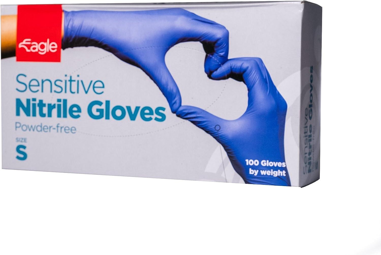 Eagle Protect Sensitive Nitrile Gloves Food Prep Non Latex Gloves Disposable Tactile FDA Compliant Food Handling Powder Free Accelerator Free Textured Fingertip Indigo Box of 100 - Small