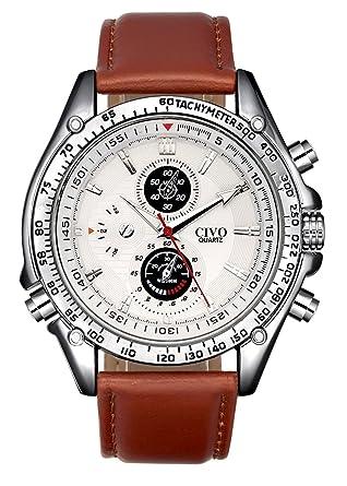 civo mens white decorative sub dials brown leather band wrist civo mens white decorative sub dials brown leather band wrist watches movement quartz watch classic