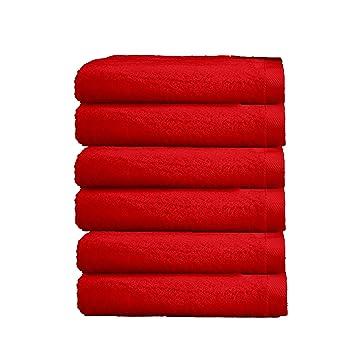 ADP Home - Pack Toallas 550 Grms 6 Piezas (Toalla Tocador) 100% Algodón Peinado Color - Rojo Talla - 30x50 cm: Amazon.es: Hogar