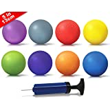 NDN LINE 5 Inch Playground Balls (Set of 8 deflated,, for Schools and for Kids, dodgeball, kickball pump included)