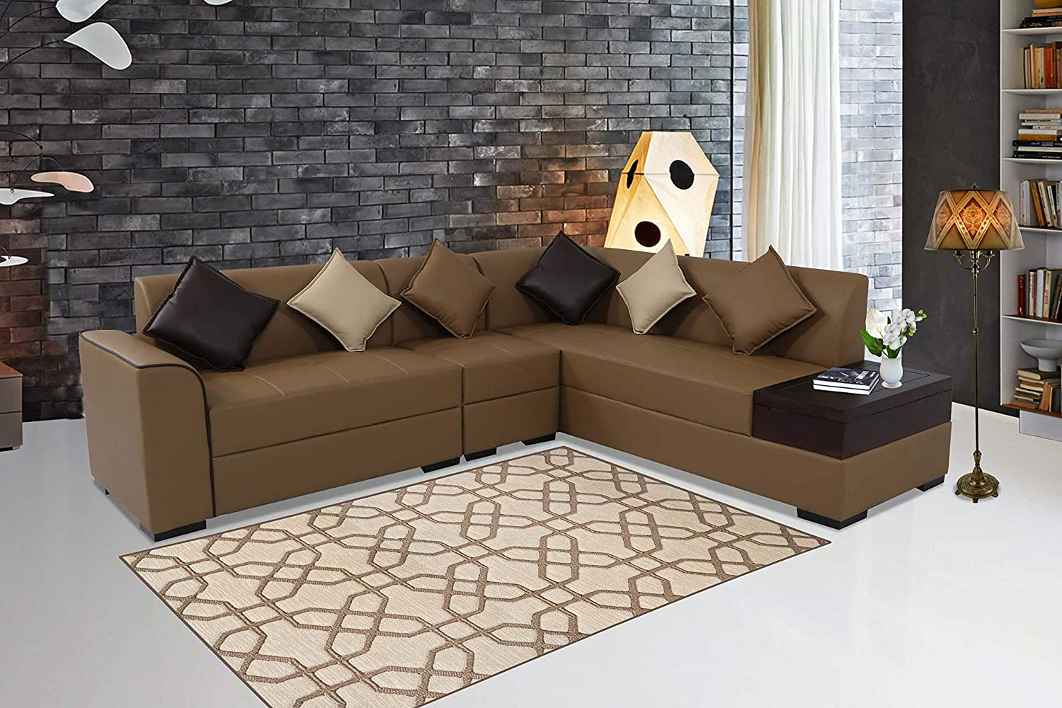 Muebles Casa Coral Six Seater L-Shaped Sofa (Tan Brown)