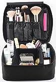 Eliza Huntley Travel Makeup Organizer, Make Up Case & Toiletry Travel Bag for Women, Cosmetic Case, Black Makeup Suitcase