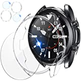 [2+2 Pack] Tensea Compatible for Samsung Galaxy Watch 3 41mm Screen Protector and Case, 2 Packs Tempered Glass Protective Fil