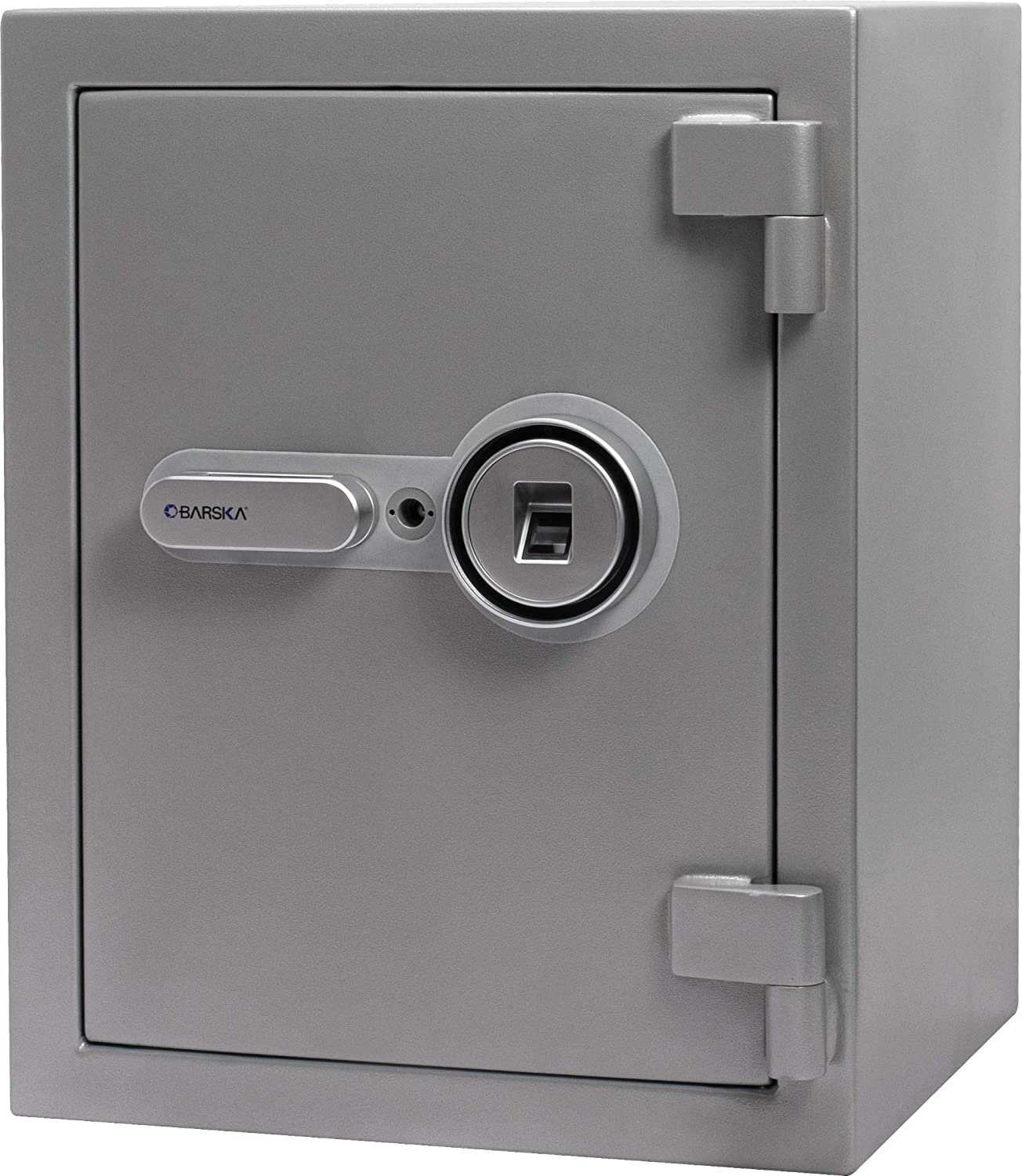 BARSKA AX13494 Biometric Fireproof Safe 1.64 Cu Ft Metallic Grey with Long Locking Bolts