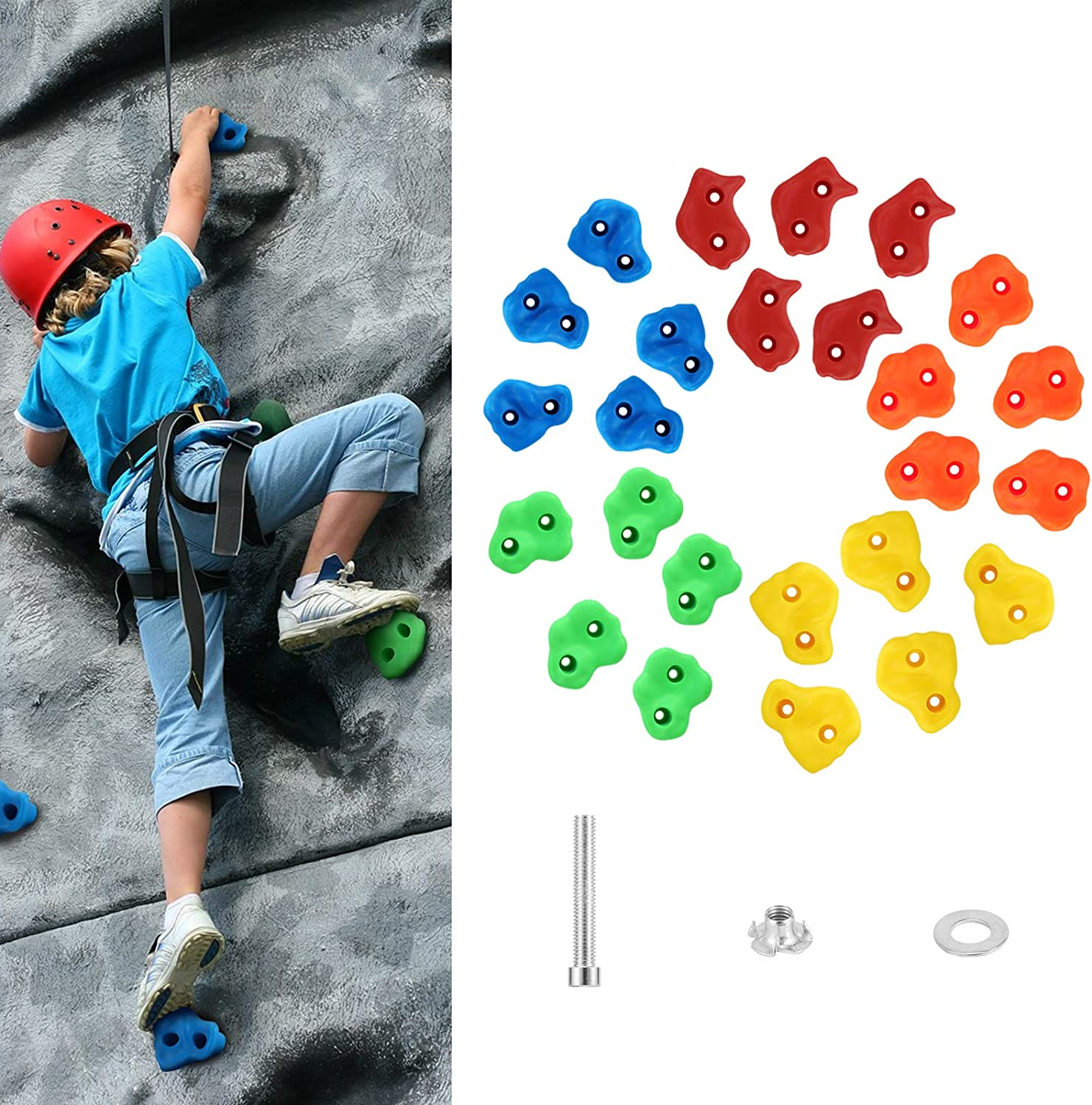 MoKo Rock Climbing Holds for Kids, 25 Pack Children Rock Climbing Holds for Backyard Outdoor Indoor Home Playground DIY Climbing Wall Grip Kits, Rock Wall Holds with Mounting Screws, Colorful