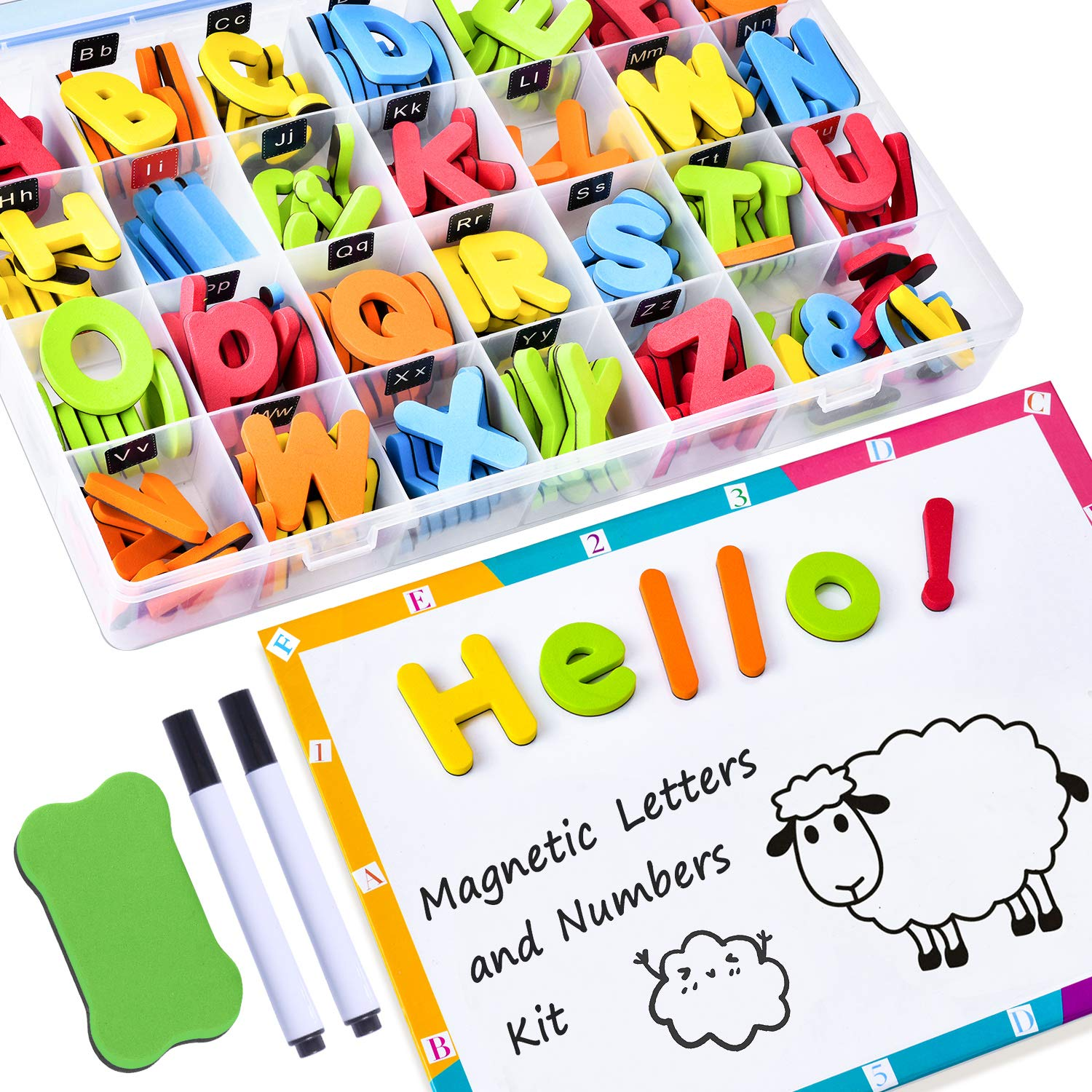 225Pcs Magnetic Letters und Numbers für Kids mit Double-Seite Magnet Board und Storage Kasten - Abc Uppercase Lowercase Foam Alphabet Letters für Toddlers - Classroom Zuhause Education Spelling Learning Set
