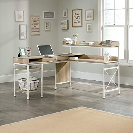 Sauder 423262 Canal Street L-Desk, White & Coastal Oak Finish