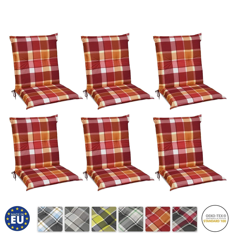 Beautissu Set de 6 Cojines para sillas de Exterior y jardín con Respaldo bajo Sunny RO Rojo 100x50x6 cm tumbonas, mecedoras, Asientos cómodo Acolchado ...