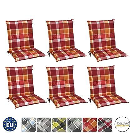 Beautissu Set de 6 Cojines para sillas de Exterior y jardín con Respaldo bajo Sunny RO Rojo 100x50x6 cm tumbonas, mecedoras, Asientos cómodo ...