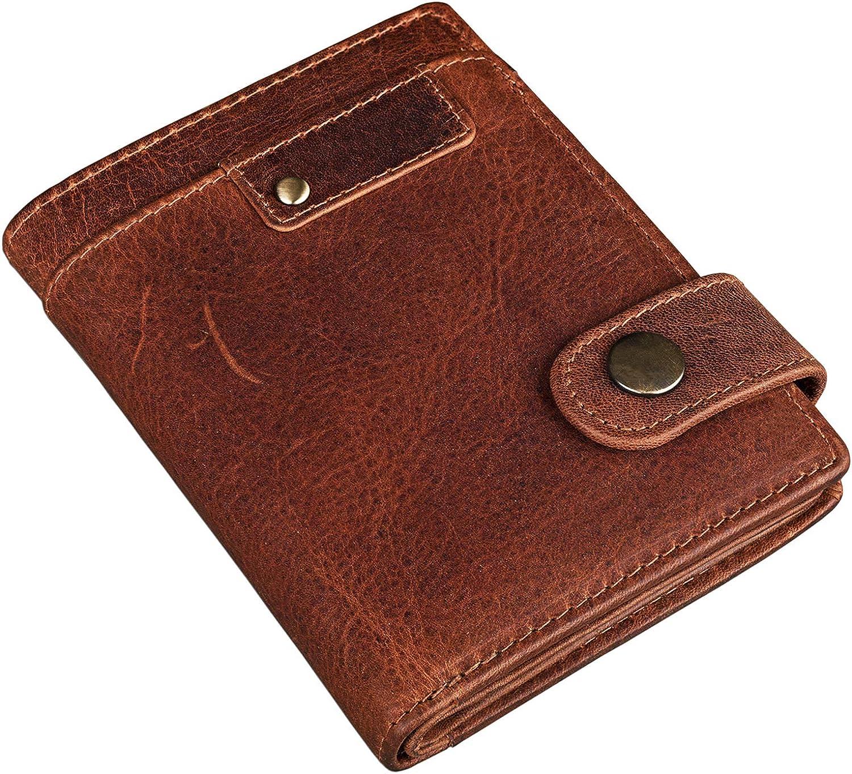 STILORD Milo Vintage Porte-Monnaie pour Homme Portefeuille Classique avec Bouton-Pression Cuir V/éritable Porte-Billets Couleur:Marron Moyen