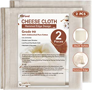 eFond Cheese Cloth, 24x24Inch Hemmed Cheesecloth for Straining Reusable, Grade 90 Double Layer Filtration, Unbleached Pure Cotton Cheese Cloths for Cooking, Nut Milk Strainer (2 Pieces)