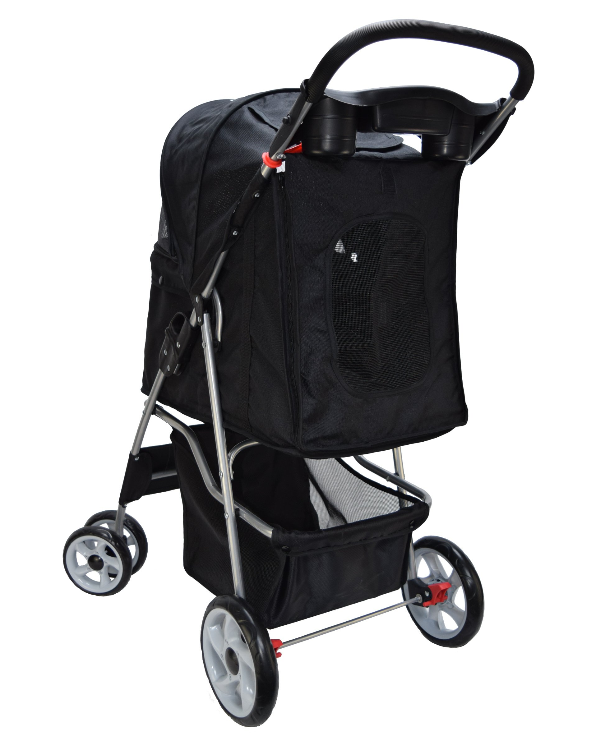 VIVO Four Wheel Pet Stroller, for Cat, Dog and More, Foldable Carrier Strolling Cart, Multiple Colors (Black) by VIVO (Image #5)