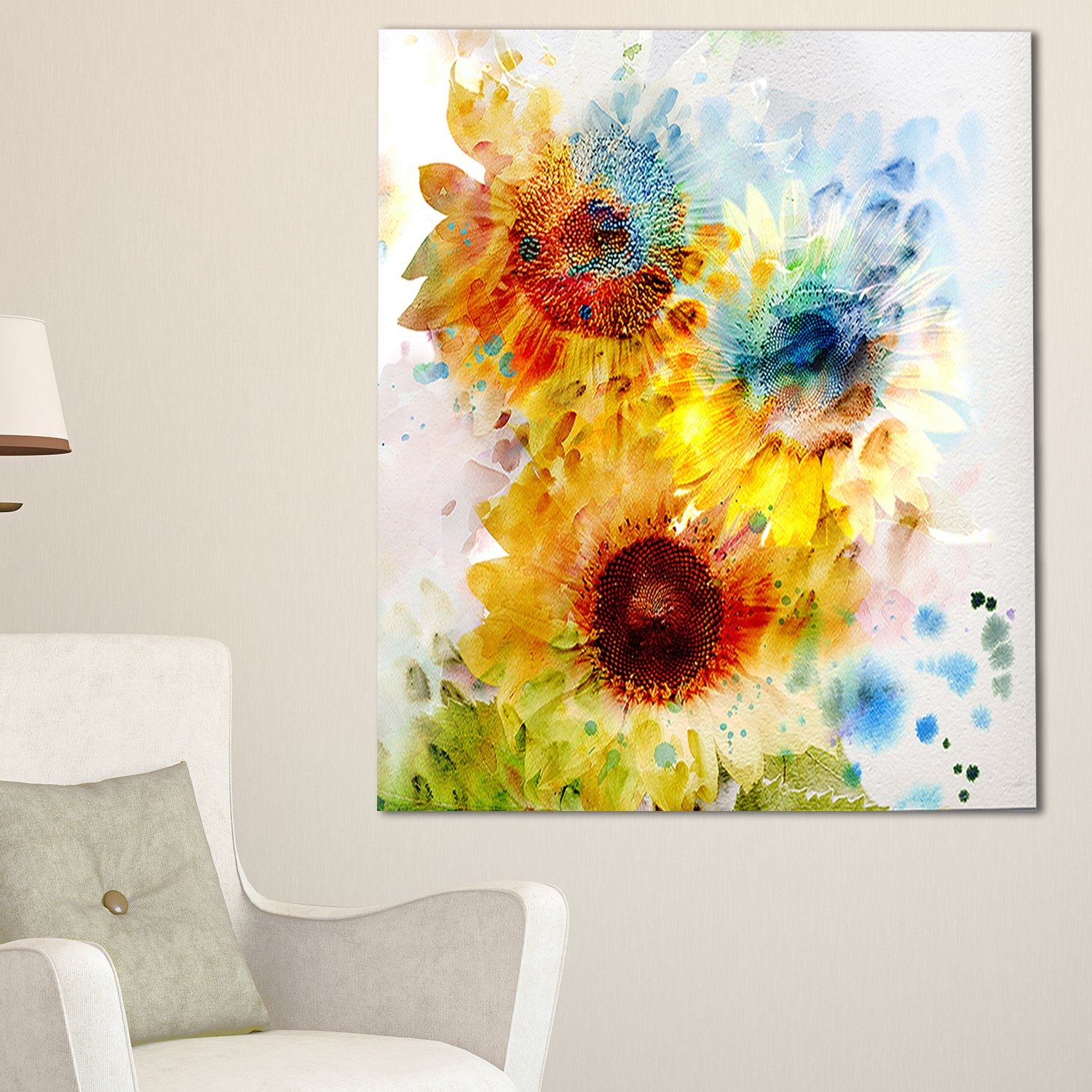Amazon.com: Design Art Expressive Sunflowers Watercolor Floral on ...