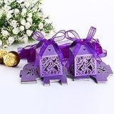 25 x Boîte à dragées papillons violet pour Mariage Baptême cage coffret bonbon