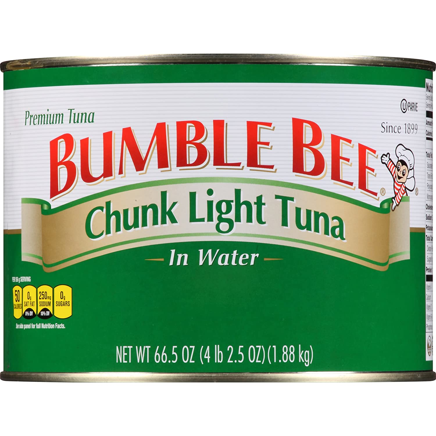BUMBLE BEE Chunk Light Tuna In Water, Wild Caught, High Protein Food, Gluten Free, Keto, Canned Food, 66.5 Ounce Tin