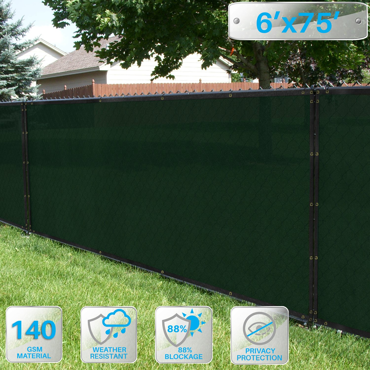 6' x 75' Privacy Screen Fence in Dark Green, Commercial Grand Mesh Shade Fabric with Brass Gromment Outdoor Windscren - Custom Size Available