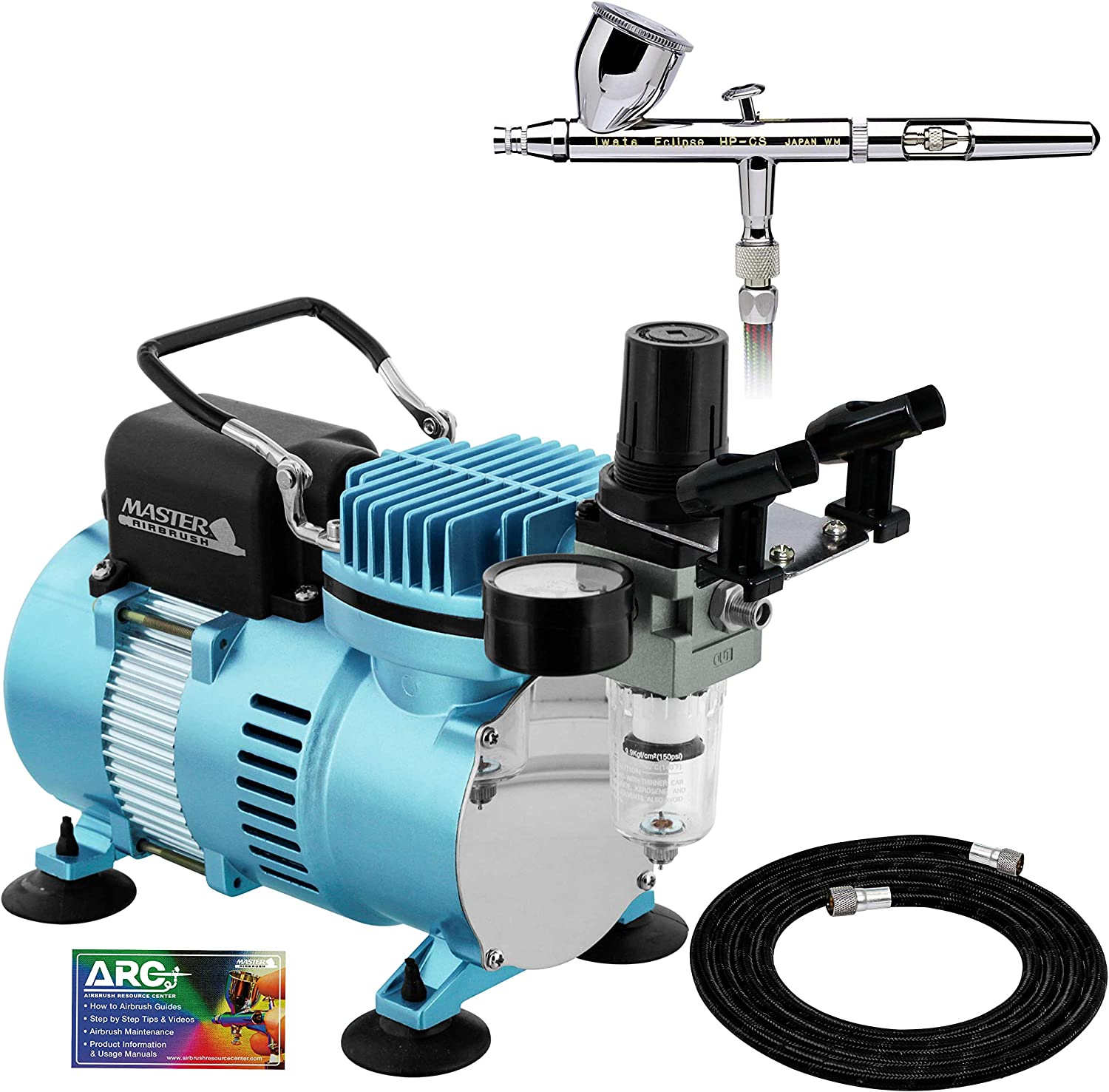 Iwata Eclipse HP CS Airbrush Set with a 1/5 hp Cool Runner II Dual Fan Air Compressor System Kit, Professional All-Purpose Dual-Action Gravity Feed Airbrush, 0.35mm tip, 6ft Hose, Holder, How-To Guide