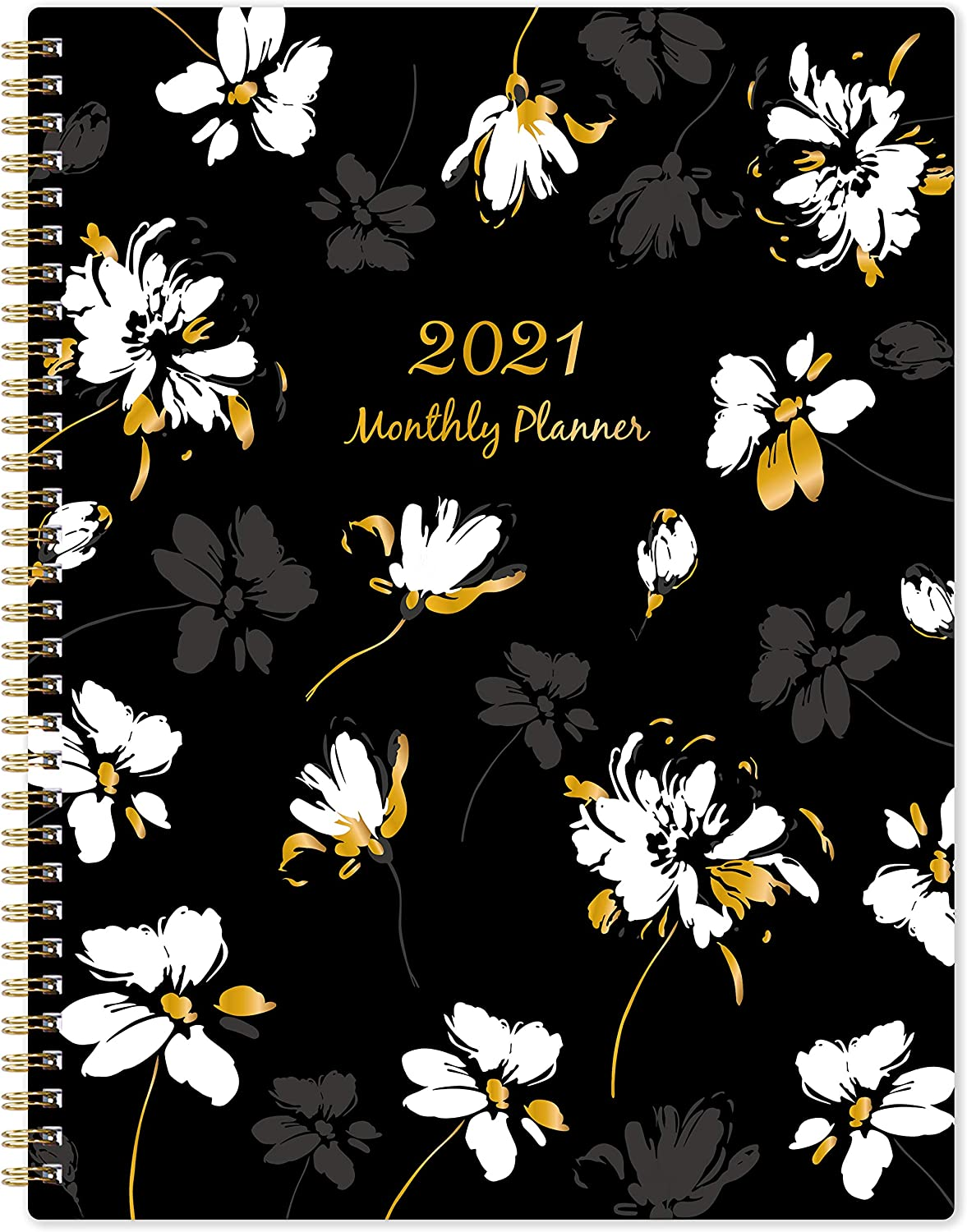 """2021 Monthly Planner - 12-Month Planner with Tabs & Double Side Pocket & Label, Contacts and Passwords, Floral Calendar Planners, Jan 2021 - Dec 2021, 9""""x 11"""", Twin-Wire Binding"""
