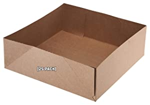 [25 Pack] Kraft Paperboard 4 Corner Pop Up Food Tray - Food and Drink Stadium Tray Carrier - Theater Snack Carrier Box - 10 x 10 x 5 Inches