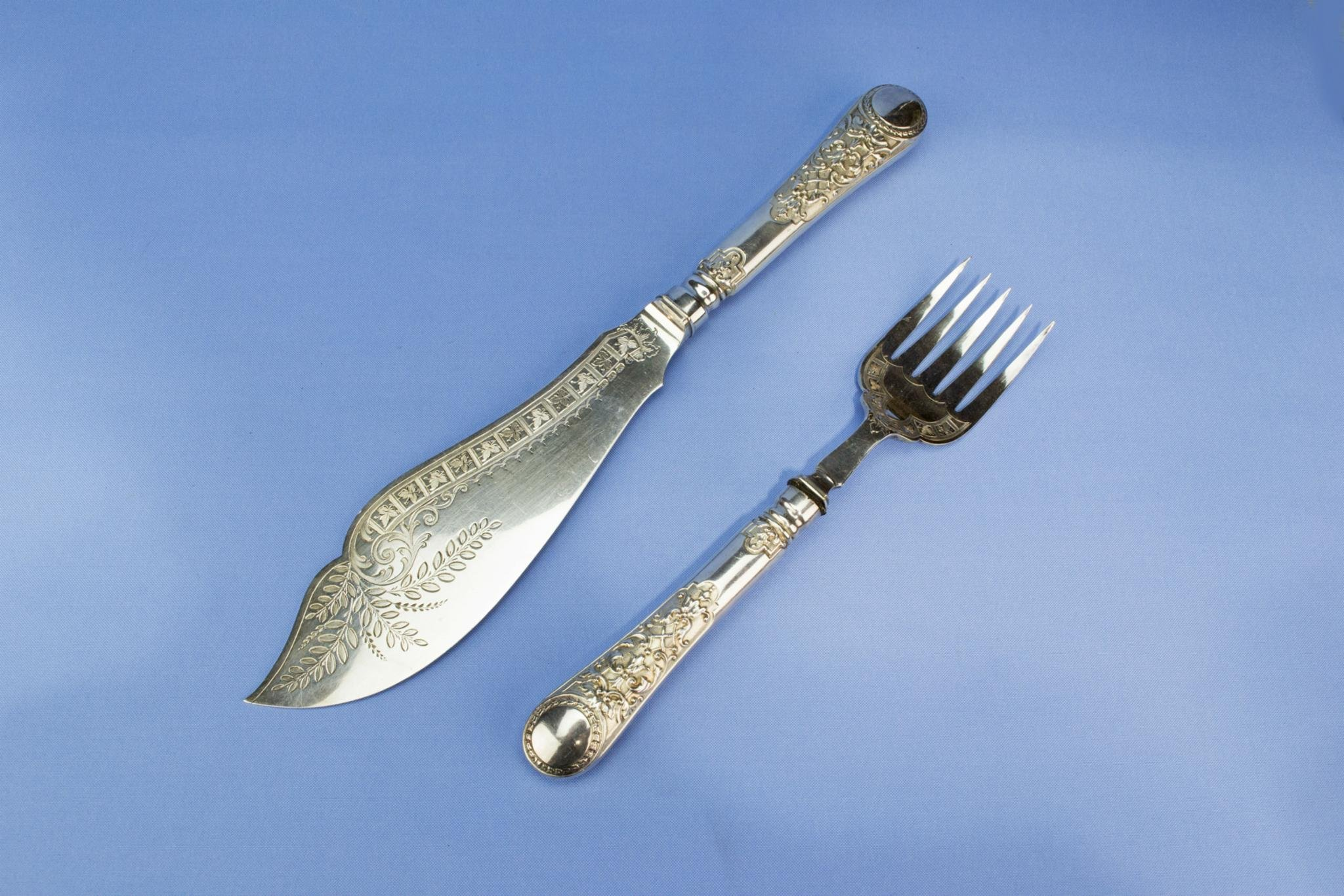Large Silver Plated Serving Cutlery Set Fork Knife Atkin Brothers Floral Antique English Victorian 1890s