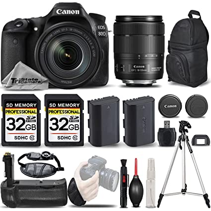 Canon EOS 80D Wi-Fi Full HD 1080P Digital SLR Camera + Canon 18-135mm IS  USM Lens + Battery Grip + Extra Battery + 64GB Storage  All Original