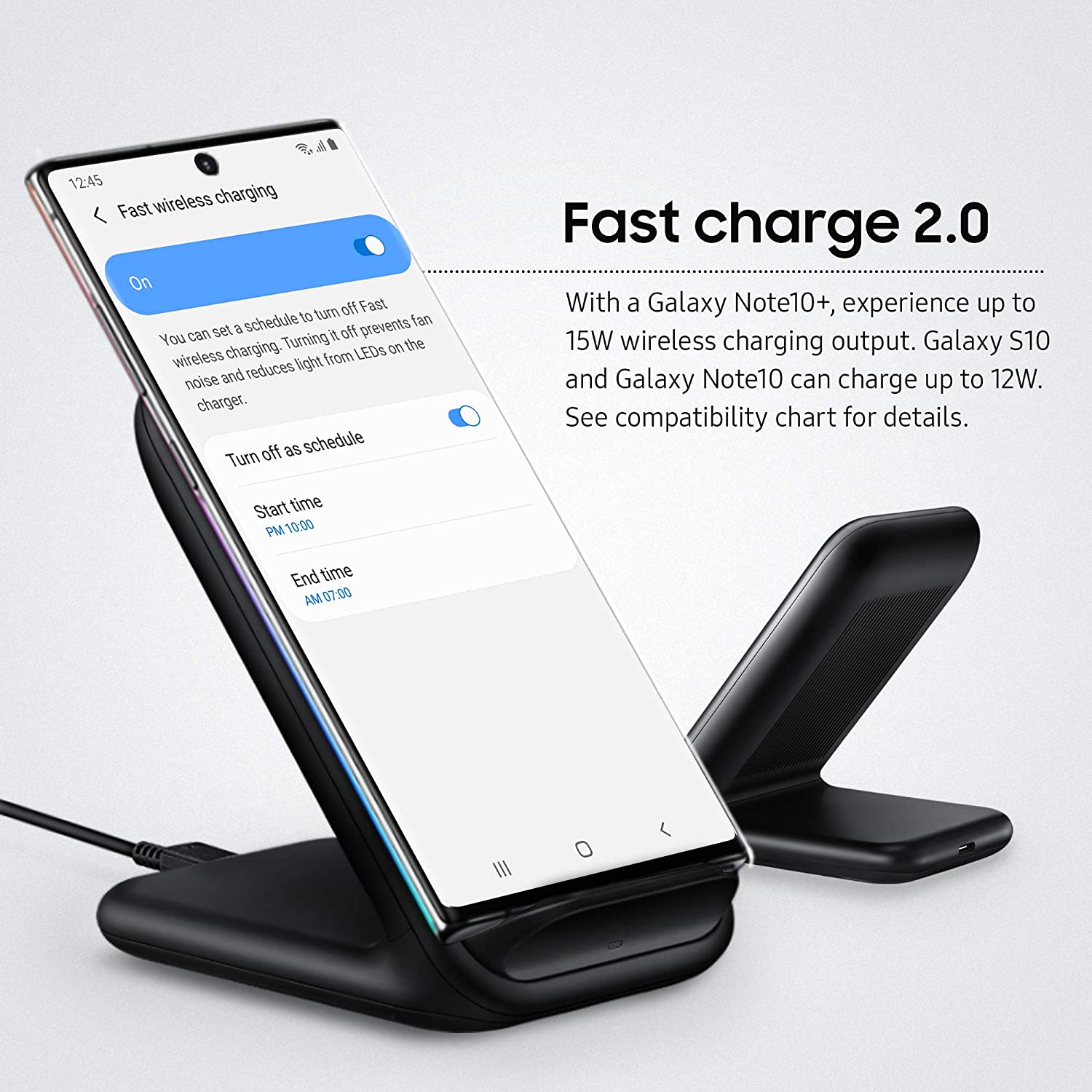 Samsung 15W Fast Charge 2.0 Wireless Charger Stand Black US Version with Warranty