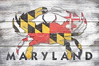 product image for Maryland - Rustic State Flag - Crab (36x54 Giclee Gallery Print, Wall Decor Travel Poster)