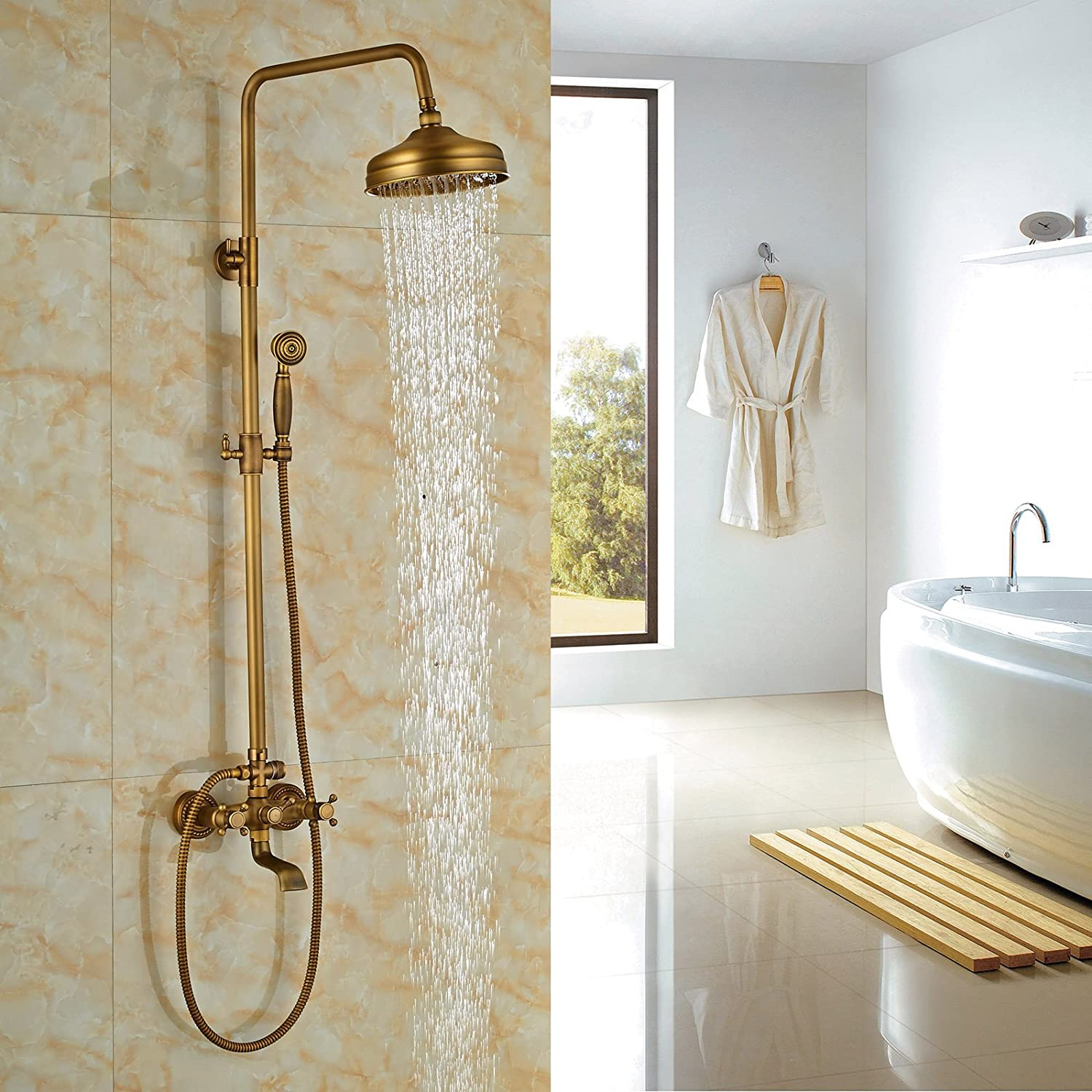 Rozin Wall Mounted Bathroom Rainfall Shower Set Tub Mixer Tap With Hand  Sprayer Antique Brass     Amazon.com